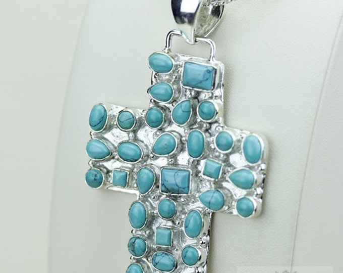 3 Inch Size TIBETAN TURQUOISE 925 S0LID Sterling Silver Pendant + 4MM Snake Chain & Free Worldwide Shipping P3485