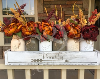 Fall mason jar centerpiece, Thankful centerpiece, Gather decor, fall centerpiece, mason jar fall decor, farmhouse signs