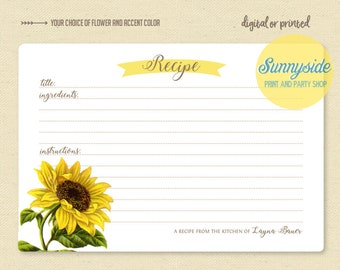 Botanical floral recipe card sunflower // printable or printed cards // personalized recipe cards // bridal shower gift // housewarming gift