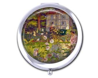 Fine art pocket mirror, Edouard Vuillard Garden at Vaucresson compact mirror artist gift for art teacher gardener gift.