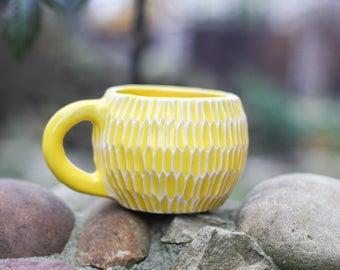 Yellow rustic mugs Rustic mug Coffee mug Woodland cup Handmade cup Unique mug Mother gift Birthday gift Christmas gift Girlfriend gift