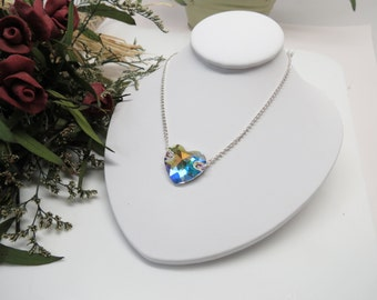 Swarovski Aurora Borealis Heart Necklace, Swarovski In Sterling Silver, 17.25 Inches Length, Crystal Heart Necklace, Keira Crystal Creation