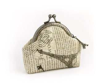 Retro Newspaper Coin Purse, Linen Paris Eiffel Tower, Key Pouch
