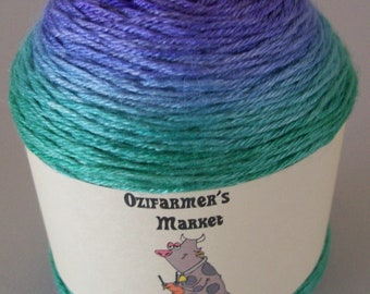 Silky Sock - 4ply Fingering Weight BFL/Silk gradient dyed knitting yarn. Colourway - Peacock