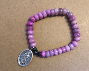 St Josemaria Escriva/Our Lady of Guadalupe, Standard Size, Purple/Pink Jade Rondelle Beads, Single Be Still By Caroline Stretch Bracelet