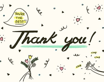 Thank You Celebration Greetings Card (Blank inside)