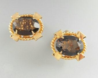 Vintage Smoky Quartz Cufflinks, Genuine Gemstone Cuff Links, Men's Jewelry Gifts Accessories