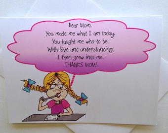 Mother's Day Card - Cute Mother's Day Card - Sweet Mother's Day Card - Cartoon Mother's Day Card - Whimsical Mother's Day Card