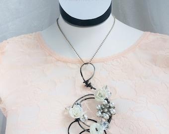 Pearl vintage button porcelain rose victorian couture statement necklace, Unique graduation gift,Gypsy grunge,Boho punk,Swarovski crystal