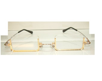 Anime Gold Rectangle Abraham Cosplay Costume Glasses