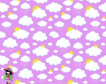 Purple clouds 1 yard cotton lycra knit 1 yard