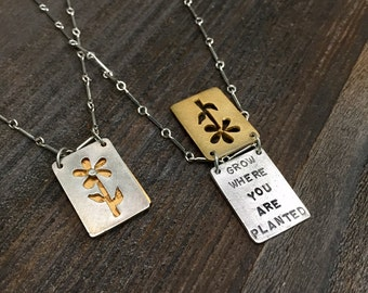 Grow/Planted Sterling Silver Inspirational Quote Necklace - Vintage Kathy Bransfield 1991