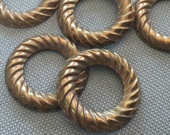 Vintage Brass Textured Stampings (3)(29mm) Wheel Findings