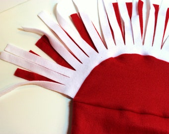 Solid Red Mohawk Fleece Hat with Red and White Fringe