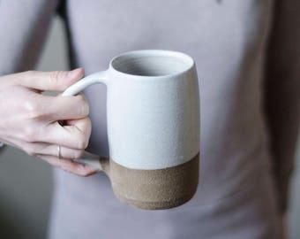 Ceramic Mug, Modern Mug, Pottery Mug, Ceramic Beer Stein, Housewarming Gift, Coffee Gift, Beer Gift, Husband Gift, Handmade Mug, White Mug