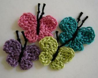 Bonneterie papillons - Rose, turquoise, prune et vert anis - coton papillons - papillon embellissements - Appliques papillon - lot de 4