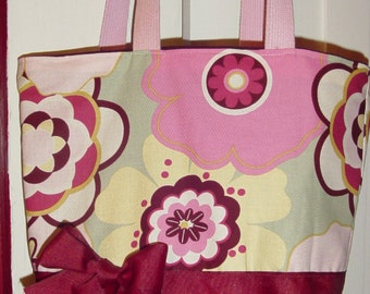 Burgundy Pink Cleo Floral ARtsy -Purse Tote BAG or Diaperbag