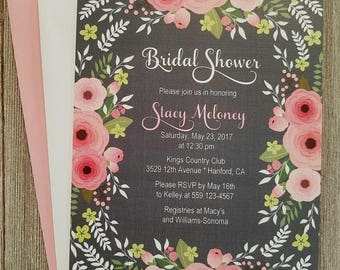 Bridal Shower Invitations, Pink and Grey Bridal Shower Invitation, Floral Bridal Shower, Blush Pink and Grey, Pink and Grey Floral
