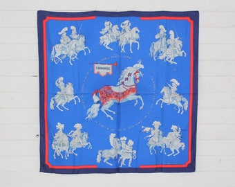 "Authentic HERMES Scarf 100% SILK  ""Carrousel"" Blue Multi Colours Size 90cm x 90cm (35.4"" x 35.4"") Made in France"