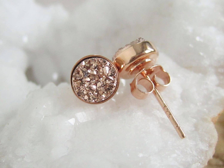 Druzy Earrings Druzy Earrings Studs Stud Earrings Rose Gold