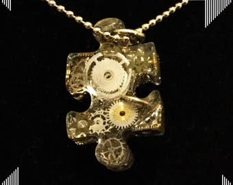 Steampunk Gear Chaos Puzzle Piece Pendant Necklace