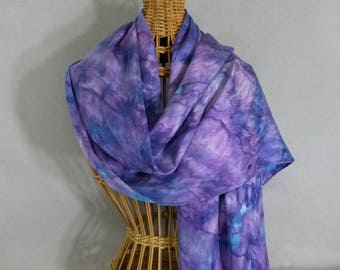 "Silk Scarf ""Purple-Turquoise"", Hand Painted Silk Jacquard Scarf"