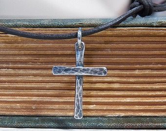 Small Sterling Silver Cross Pendant Necklace - Thin Rustic Hammer Textured - Leather Cord
