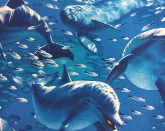 Dolphin Fabric Beautiful Pod Family with little Fishies by Timeless Treasures - Stunning Illust. Ocean Reef Sea Blue Water 100% Quality Cott