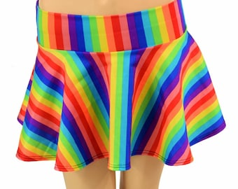 Rainbow Stripe Print Circle Cut Micro Mini Skirt Rave Clubwear EDM - 155080