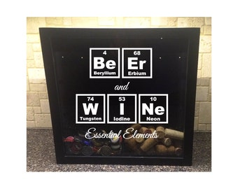"""His & Hers, Beer Cap and Wine Cork Holder - Beer and Wine - Essential Elements (Periodic Table) - Shadow Box (12"""" x 12"""")"""