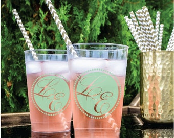 Custom Hard Plastic Cups, Personalized Wedding Cups, Two Initial Monogram, Personalized Printed Cups, Plastic Barware, Monogrammed Favors