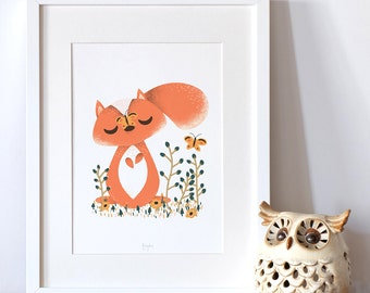 "Personalized poster for baby, birth -  ""les Animignons"" - the Little Squirrel -  illustration for kids"