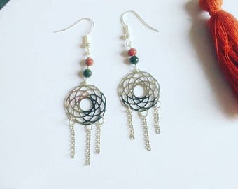 Earrings Rosettes print connector and tourmaline duo