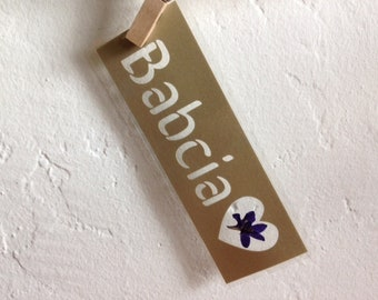 Babcia (Grandma in Polish) paper cut out laminated bookmark with a pressed flower from Poland