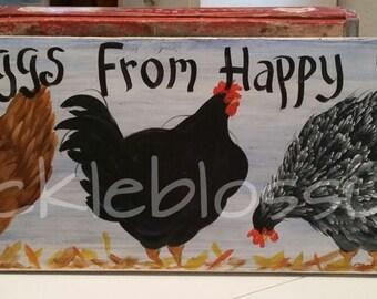 """11"""" X 36"""" #519 Chicken Art on Wood Original Chickens Sign"""