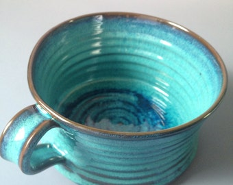 Stoneware soup cup in Turquoise