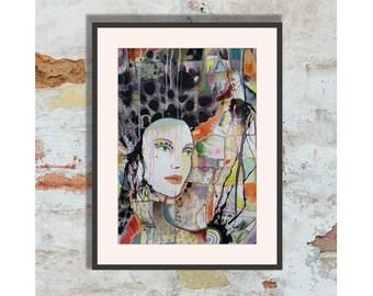 Woman Portrait Painting Watercolour Female Face Dark Haired Pre Raphaelite Large Wall Art Feminine Spiritual Dreamy