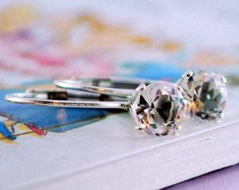 Birthstone Earrings, April Birthday, Leverback Earrings, Genuine White Topaz Gemstone, Tween Girl, Sterling Silver Jewelry