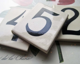 Vintage Tile Numbers 5 2 4 * Vintage Address Numbers * Small Tiles * Celebration Table Decor Ideas * Settings and Menu, Tile Numbers From CA
