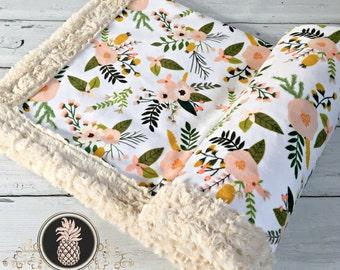 Minky baby blanket - Sprigs and Blooms - Designer Minky - Beige