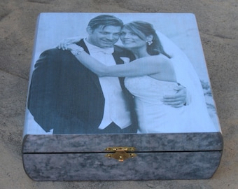 Wedding Keepsake Box, Unique Engagement Gift, Personalized Father of the Bride Photo Memory Box, Parent Thank You Gift