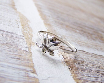 Sterling Silver Lotus Ring, Silver Lotus Stack Ring, Stack Ring, Boho Ring, Yoga, Flower Ring