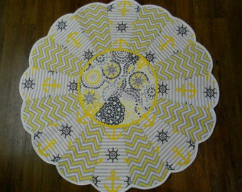 Baby Tummy Time Quilt/Playmat, Round Quilt, Dresden Plate Design, Gray Yellow and White, Chevron and Nautical Patterns, Baby Shower Gift