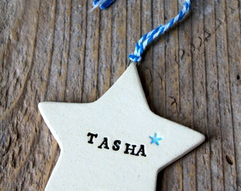 Personalized Star Pottery Ornament