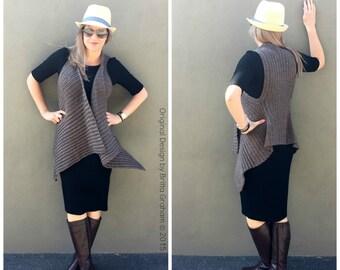 Easy Vest Crochet Pattern Waterfall Style No.933 Digital ePattern Instant Download English