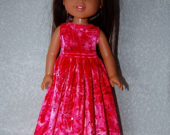 "Long Dress for 14"" Wellie Wishers or Melissa & Doug Doll Clothes Pink Sparkle velvet tkct1148 READY TO SHIP"