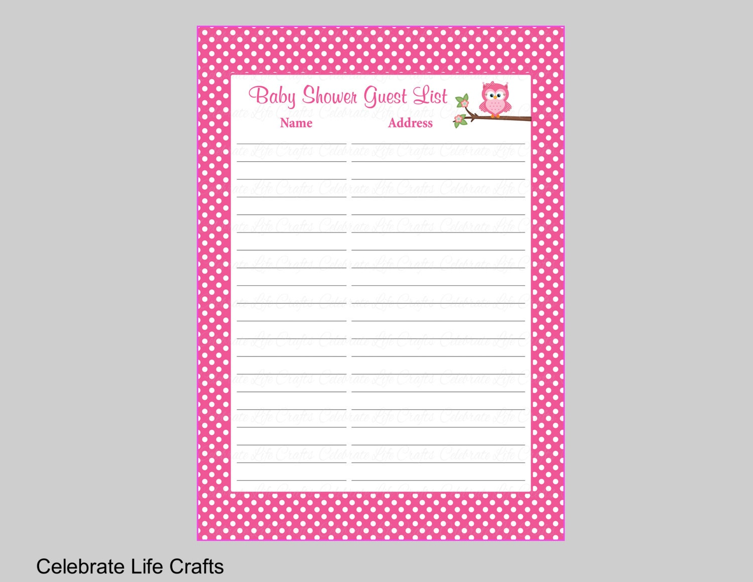 🔎zoom  Baby Shower Guest List Printable