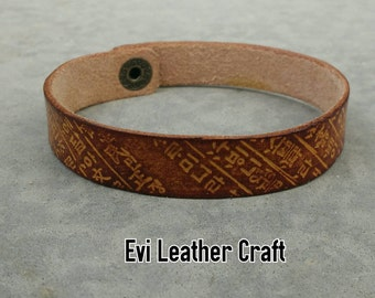 Korean style Leather bracelet 14 mm, N48, hand tooled leather cuff, leather wristband, brown  bracelet, men's cuff, leather jewellery, gift