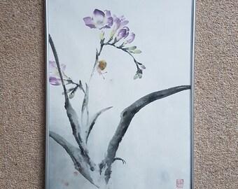 Original Chinese Brush Painting: Freesia and snail