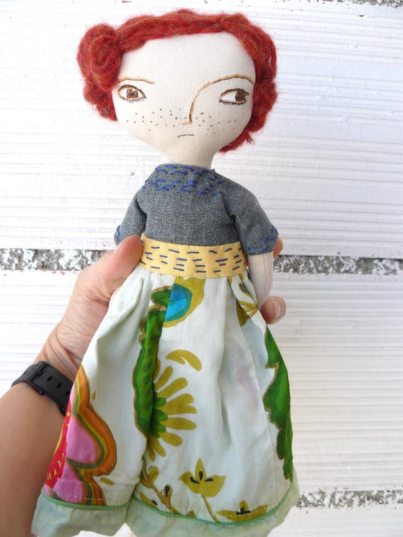 Art doll with alpaca and silk hair a. 32 cm. Redhaired doll